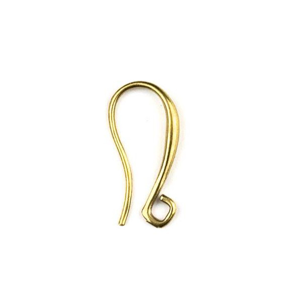 Raw Brass 9x19mm Hook Ear Wires - 6 per bag - CTBYH-004b
