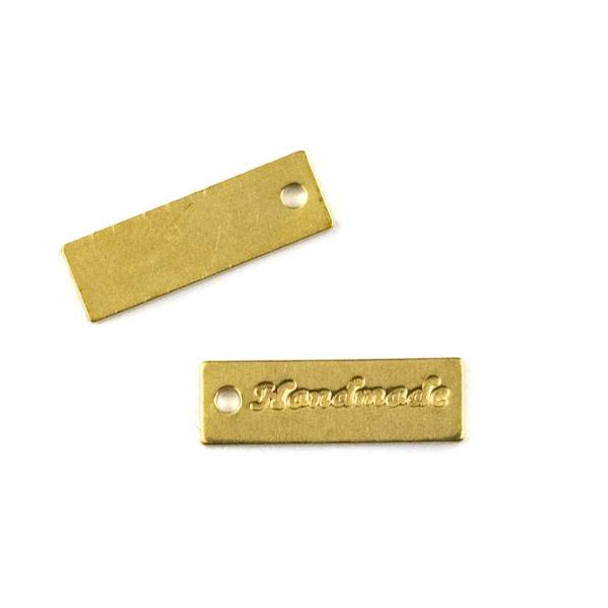 "Raw Brass 5x17mm ""Handmade"" Rectangle Tag Charm - 6 per bag - CTBYH-006b"