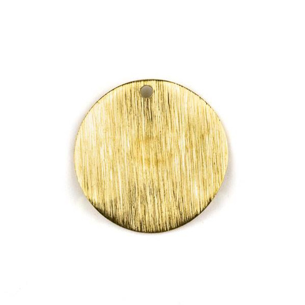 Raw Brass 25mm Wavy Textured Coin Drop Components - 6 per bag - CTBYH-011b