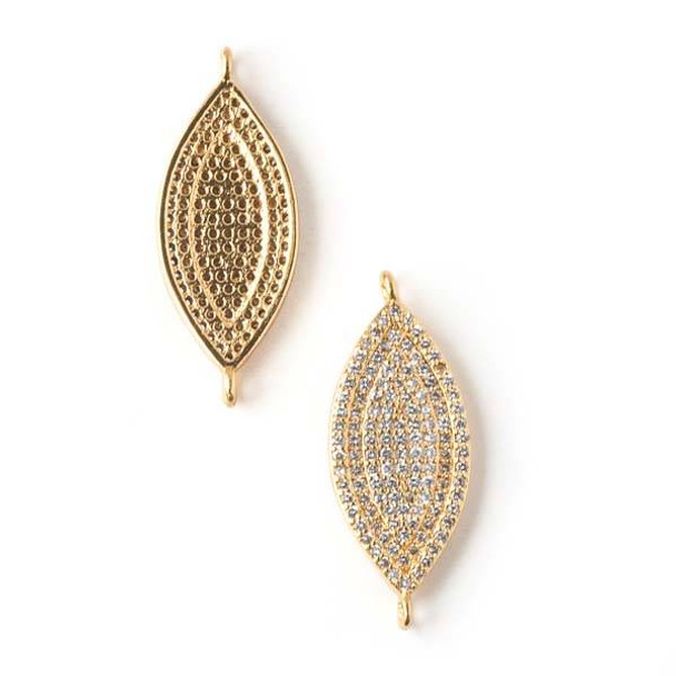 Gold Plated Brass Pave 12x28mm Marquis Link with Cubic Zirconias -  1 per bag