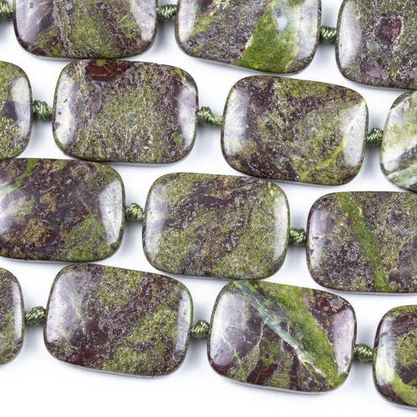 Dragon Blood Jasper 18x25mm Rectangle Beads - knotted 16 inch strand