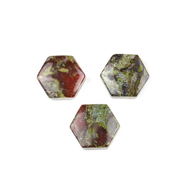 Dragon Blood Jasper 16x18mm Top Drilled Hexagon Pendant - 1 per bag