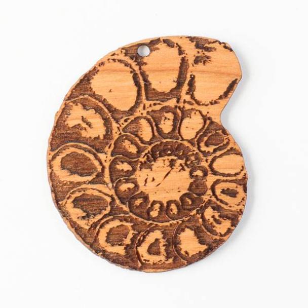 Handmade Wooden 48x59mm Ammonite Pendant