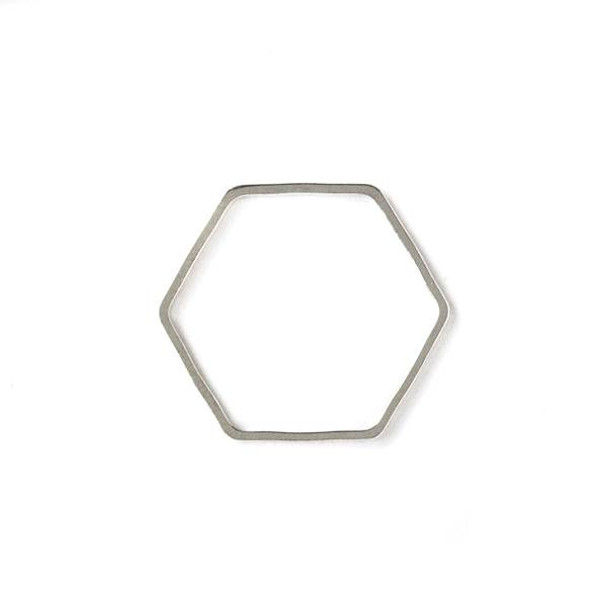 Silver Plated Brass 22x25mm Hexagon Link - 6 per bag - ES7593s
