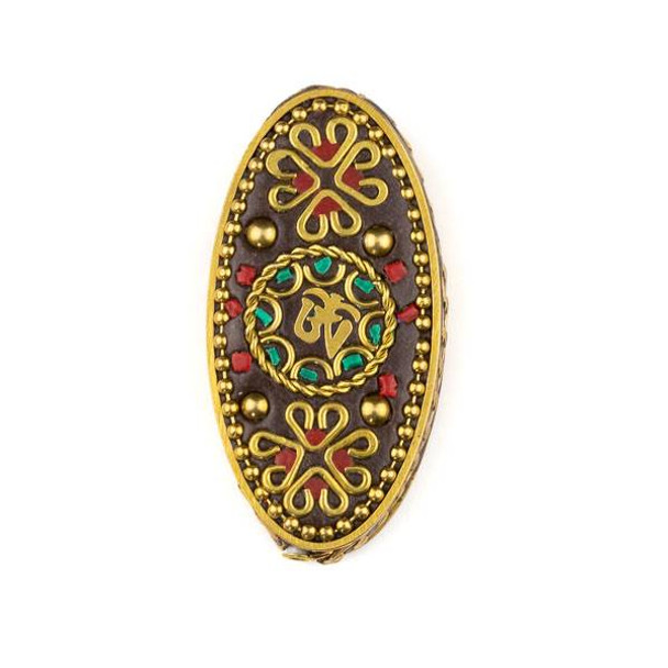 Tibetan Brass 27x55mm Oval Focal Bead with Turquoise Howlite and Red Coral Inlay and Tibetan Ohm - 1 per bag