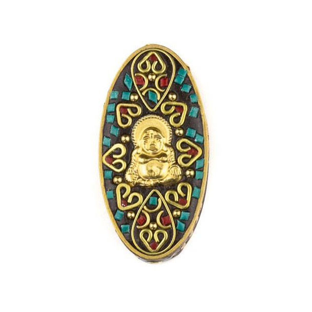 Tibetan Brass 27x55mm Oval Focal Bead with Happy Buddha and Hearts Inlay - 1 per bag