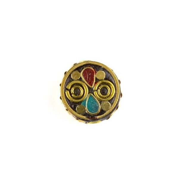 Tibetan Brass 17mm Coin Bead with Turquoise Howlite and Red Coral Teardrop Inlay and Circles - 1 per bag