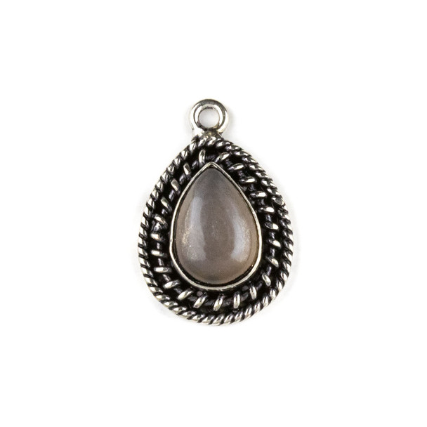 Silver Plated Brass Fancy Bezel Pendant - Mystic Swiss Chocolate Moonstone 16x24mm Teardrop Drop, style #05