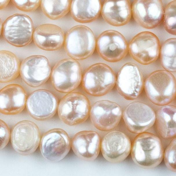 Fresh Water Pearl 9-10mm Peach Nugget Beads - 13.5 inch strand