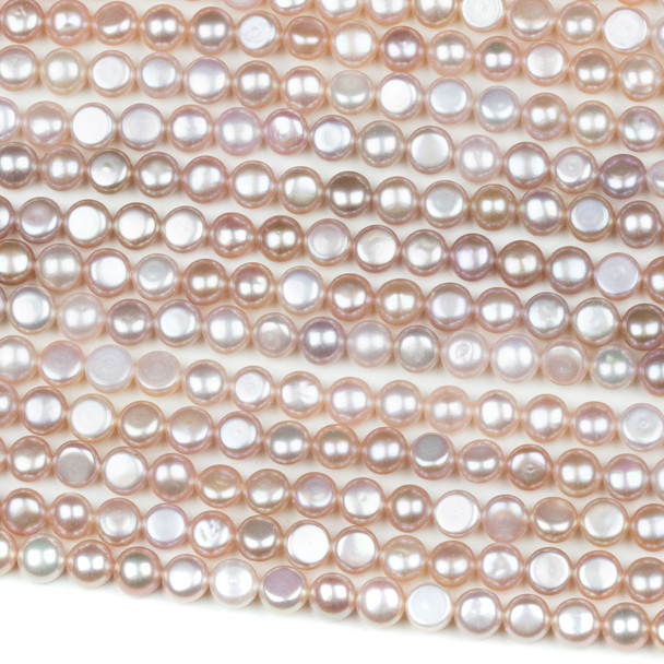 Fresh Water Pearl 6mm Pink Button Beads - 16 inch strand