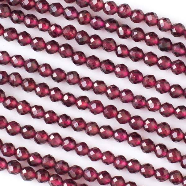 Garnet 3mm Faceted Round Beads - 15.5 inch strand
