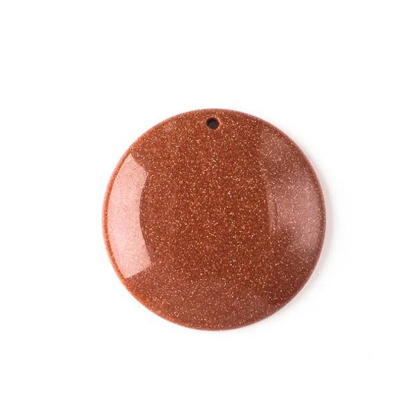 Goldstone 40mm Top Front to Back Drilled Coin Pendant with a Flat Back - 1 per bag