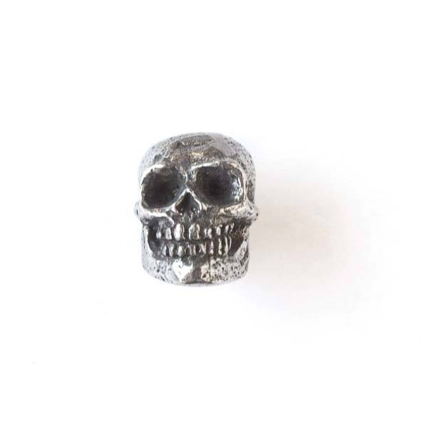 Green Girl Studios Pewter 13x18mm Smiling Skull Bead - 1 per bag