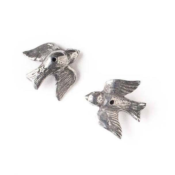 Green Girl Studios Pewter 21mm Flying Bird Bead - 1 per bag