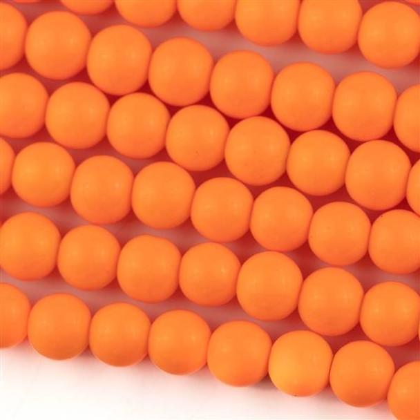 Glass 8mm Tangerine Orange Round - approx. 8 inch strand