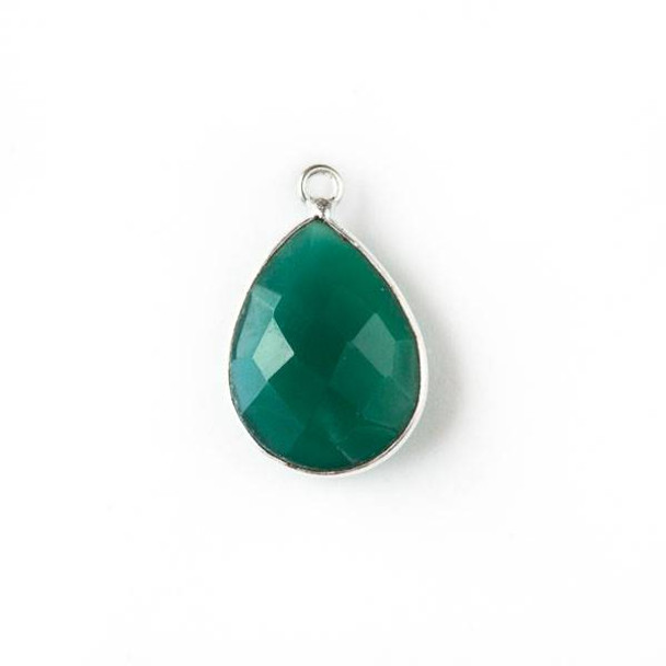 Green Onyx approximately 14x22mm Teardrop Drop with Silver Plated Brass Bezel