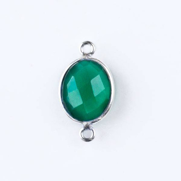 Green Onyx 12x20mm Oval Link with a Silver Plated Brass Bezel