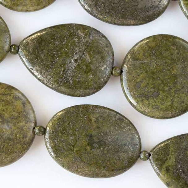 Moss Green Pyrite 35mm Coins, 30x40mm Ovals, and 30x40mm Teardrops alternating with 4mm Rounds - approx. 8 inch strand