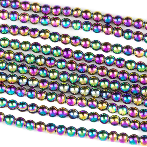 Hematite 3mm Electroplated Purple Rainbow Round Beads - approx. 8 inch strand
