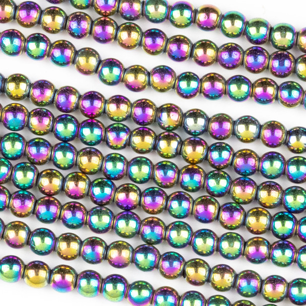 Hematite 4mm Electroplated Purple Rainbow Round Beads - 8 inch strand