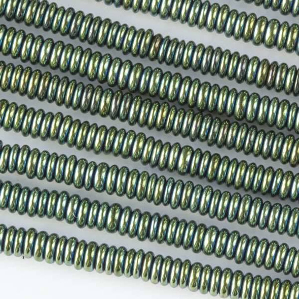 Hematite 1x3mm Electroplated Green Rondelle - approx. 8 inch strand