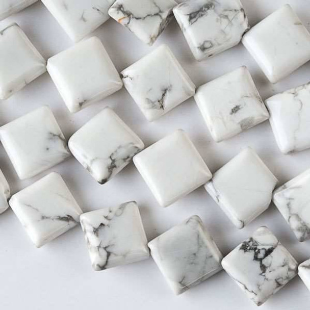 Howlite 10mm Diagonal Drilled Square Beads - approx. 8 inch strand, Set A