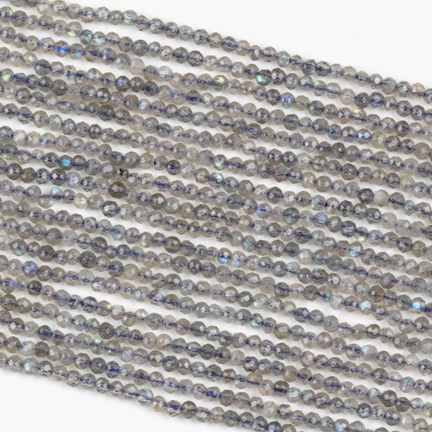 Blue Labradorite 3mm Faceted Round Beads - 15 inch strand