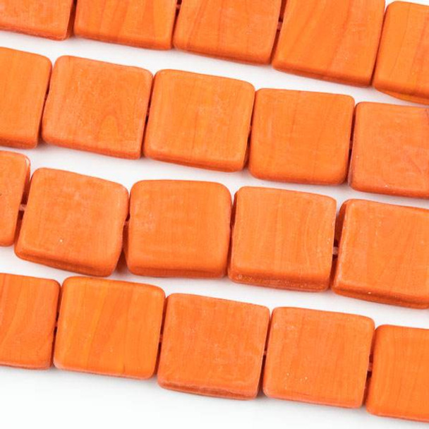 Handmade Indian Lampwork Glass 11x12mm Opaque Matte Orange Square Beads - approx. 8 inch strand