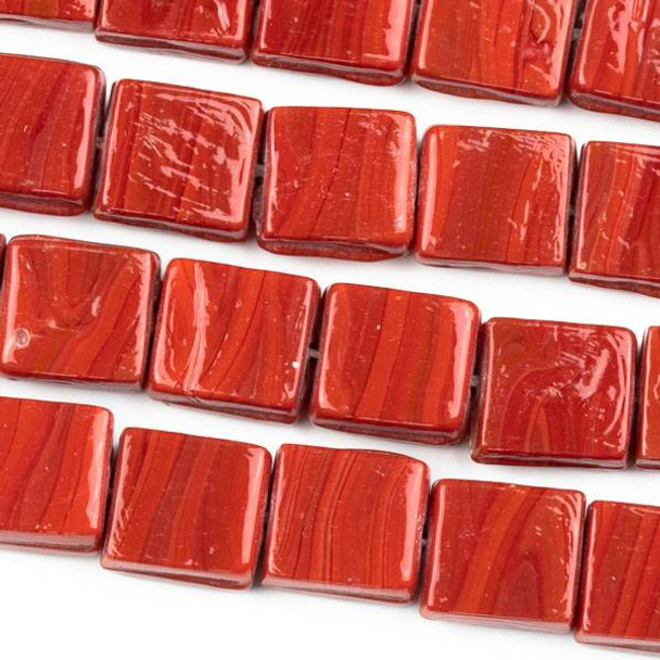 Handmade Indian Lampwork Glass 11x12mm Opaque Red Square Beads - approx. 8 inch strand