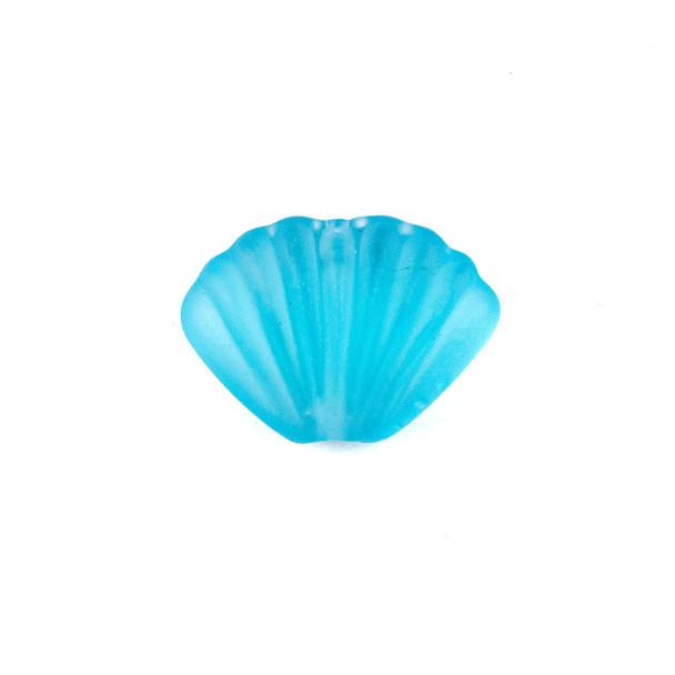Handmade Lampwork Glass 20x27mm Matte Light Aqua Scallop Shell Bead - 1 per bag