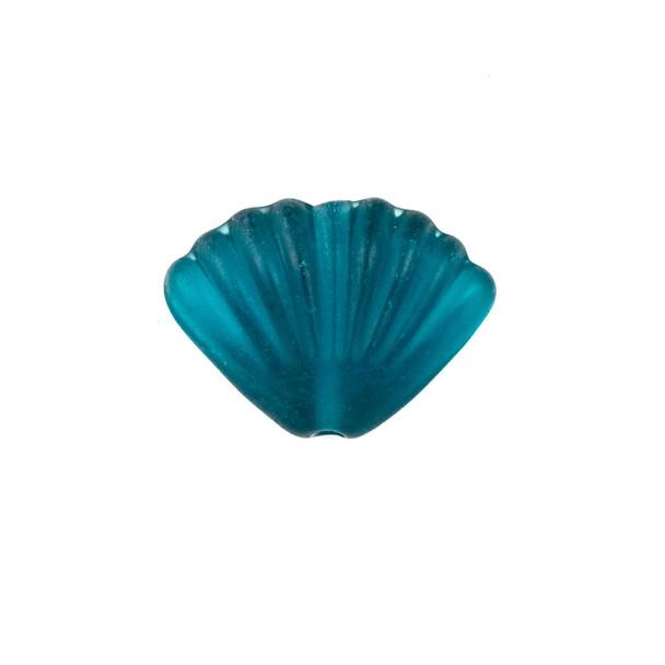 Handmade Lampwork Glass 20x27mm Matte Peacock Blue Scallop Shell Bead - 1 per bag