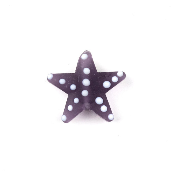 Handmade Lampwork Glass 23mm Matte Lilac Purple Starfish Bead with White Dots - 1 per bag