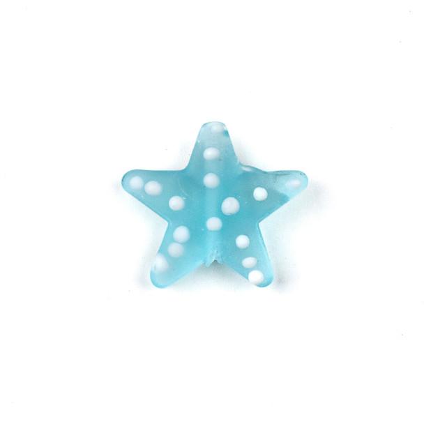 Handmade Lampwork Glass 23mm Matte Light Aqua Starfish Bead with White Dots - 1 per bag