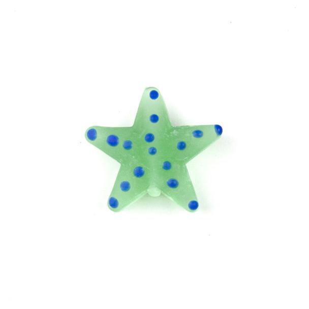 Handmade Lampwork Glass 23mm Matte Seafoam Green Starfish Bead with Blue Dots - 1 per bag