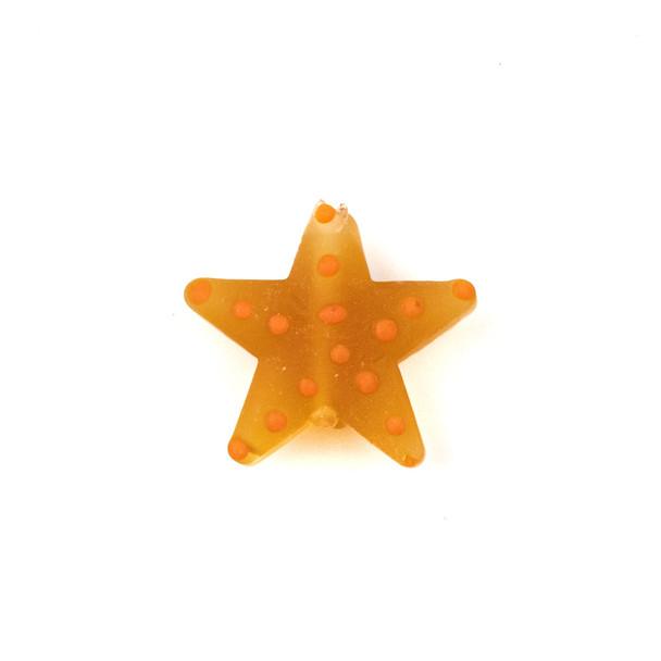 Handmade Lampwork Glass 23mm Matte Topaz Starfish Bead with Orange Dots - 1 per bag