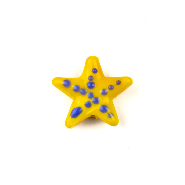 Handmade Lampwork Glass 23mm Yellowish Orange Starfish Bead with Blue Dots - 1 per bag
