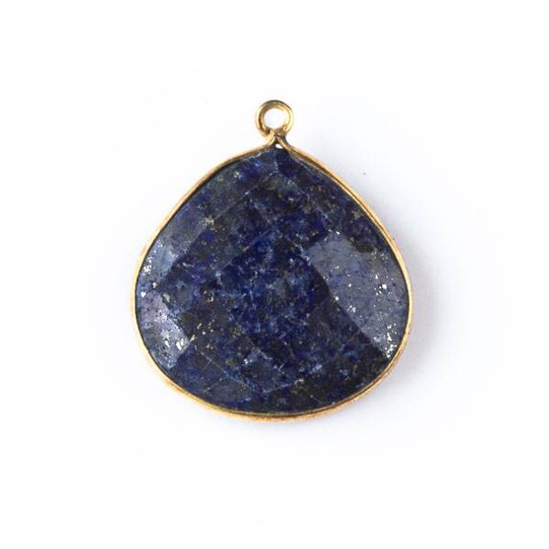 Lapis approximately 21x24mm Almond Drop with Gold Plated Brass Bezel