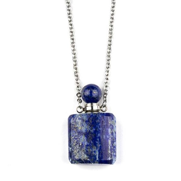 Lapis 19x34mm Rounded Square Perfume Bottle Necklace with Silver Stainless Steel Chain