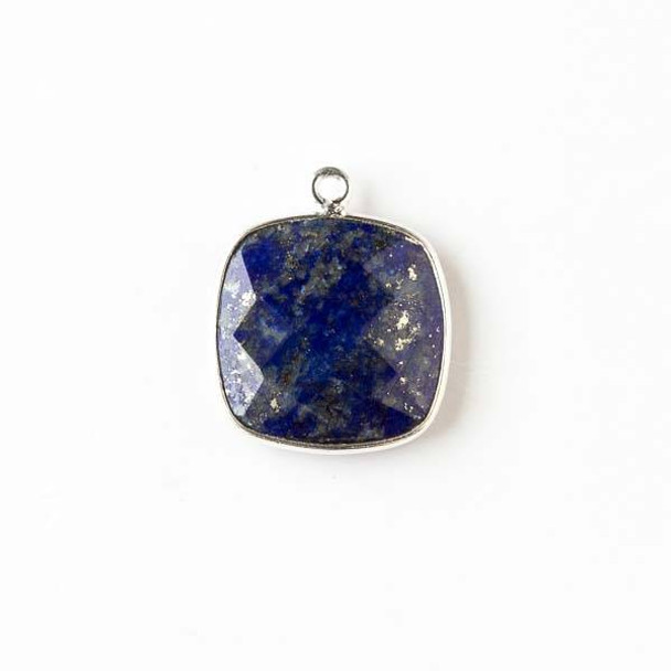 Lapis 16x19mm Square Drop with a Silver Plated Brass Bezel
