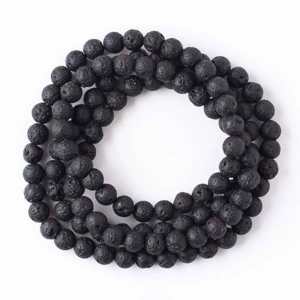 Waxed Black Lava 8mm Mala Round Beads - 36 inch strand