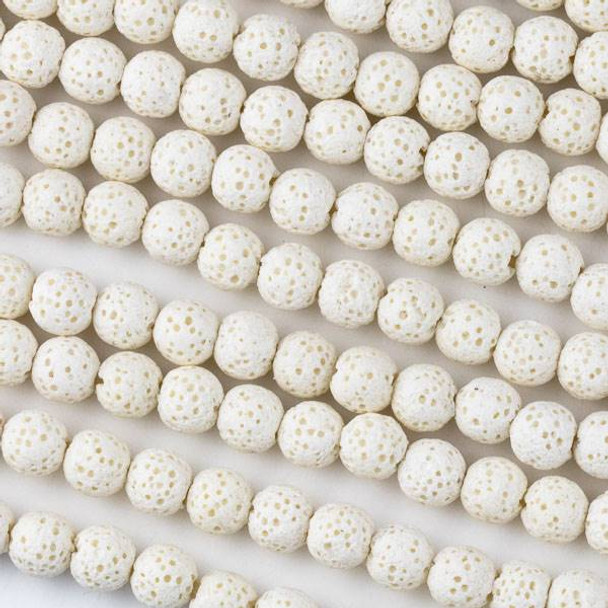 Waxed Lava 6mm White Round Beads - 15 inch strand
