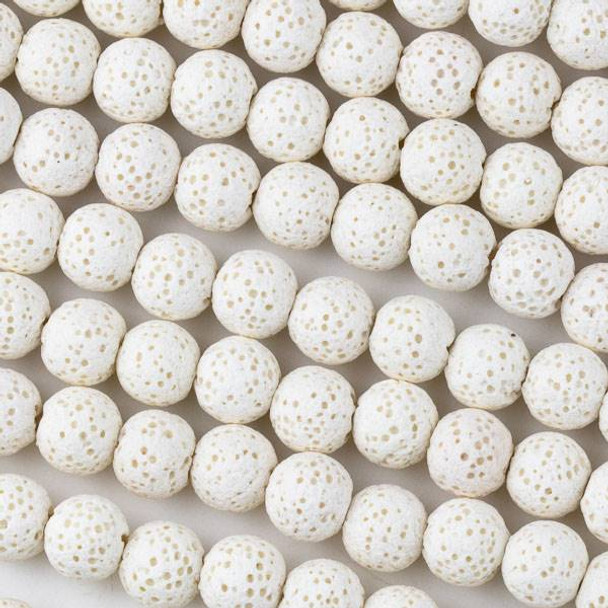 Waxed Lava 8mm White Round Beads - 15.5 inch strand