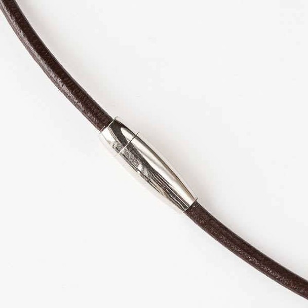 3mm Dark Brown Round Leather Necklace with a Stainless Steel Magnetic Clasp - 18 inch