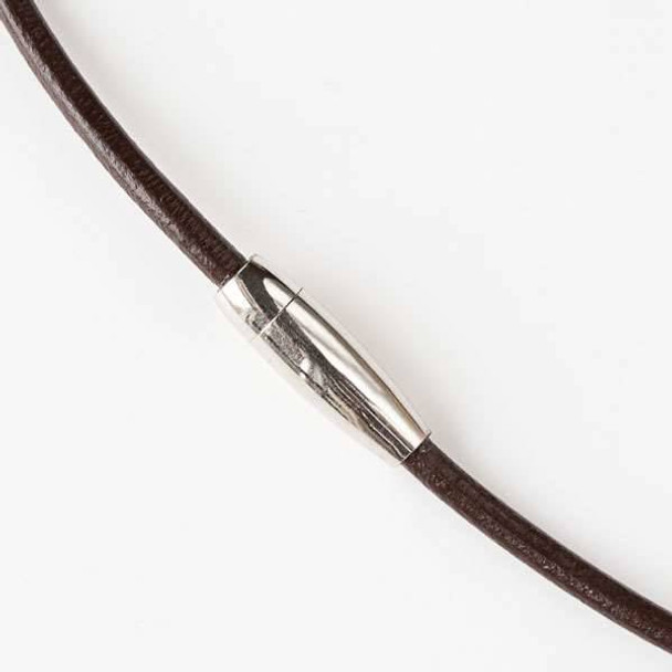 3mm Dark Brown Round Leather 20 inch Necklace with a Stainless Steel Magnetic Clasp