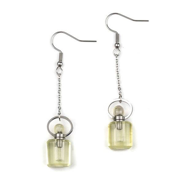 Lemon Quartz 11x19mm Rounded Square Perfume Bottle Earrings with Silver Stainless Steel - 1 pair