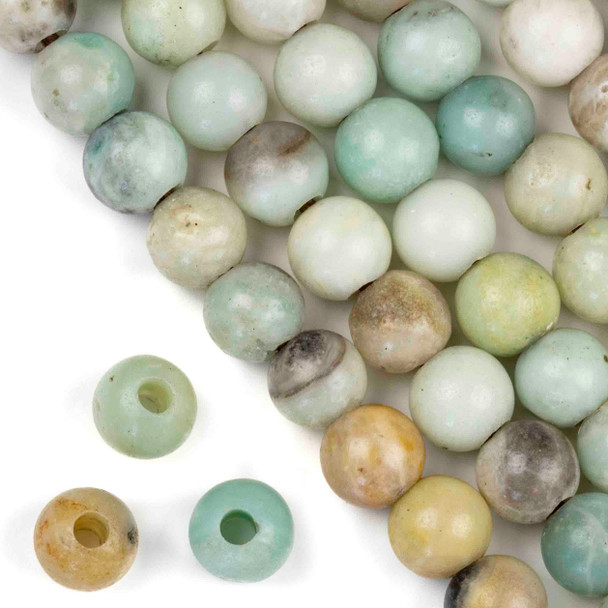 Large Hole Amazonite 12mm Round with 4mm Drilled Hole - approx. 8 inch strand