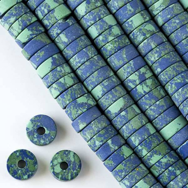 Matte Large Hole Synthetic Azurite 3-5x10mm Heishi with a 2.5mm Drilled Hole - approx. 8 inch strand