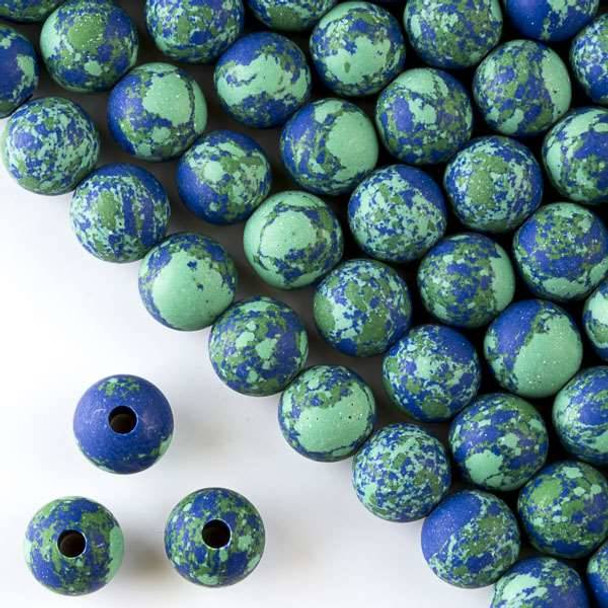 Matte Large Hole Synthetic Azurite 10mm Round with a 2.5mm Drilled Hole - approx. 8 inch strand