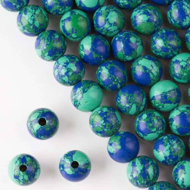 Large Hole Synthetic Azurite 12mm Round with 2.5mm Drilled Hole - approx. 8 inch strand