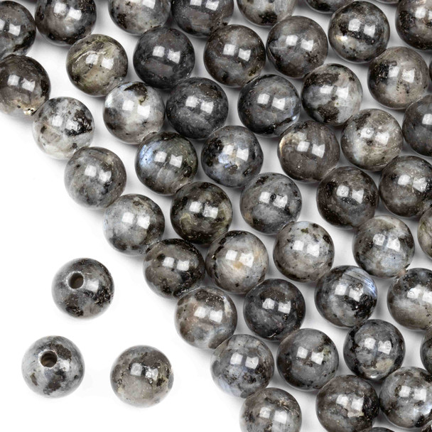 Large Hole Black Labradorite/Larvikite 10mm Round Beads with a 2.5mm Drilled Hole - approx. 8 inch strand